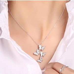 REAL 925 Sterling Silver Butterfly Pendant Chain